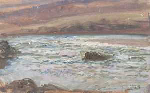 Alfred James Munnings - Brightworthy Ford, Withypool, Exmoor (recto)