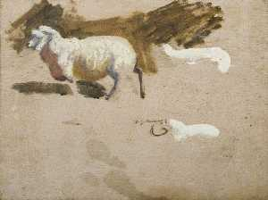 Alfred James Munnings - Study of an Exmoor Sheep