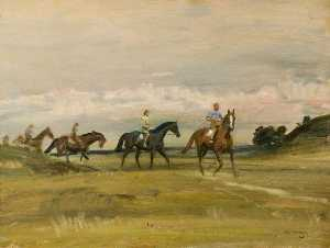 Alfred James Munnings - Racehorses Training in a Landscape