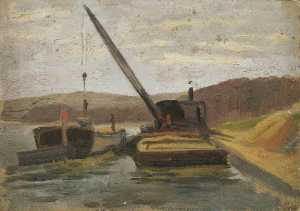 Alfred James Munnings - Barges on a River
