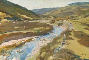 Alfred James Munnings - View of Exmoor with Stream