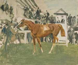 Alfred James Munnings - Study for 'The Unsaddling Enclosure, Epsom'