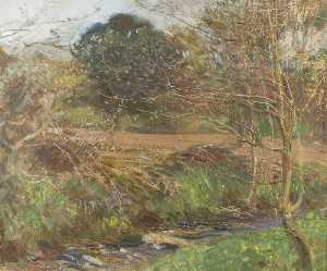 Alfred James Munnings - A Pastoral Scene with Trees and a Stream in the Foreground
