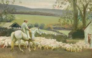 Alfred James Munnings - Bringing Home the Sheep, Withypool, Exmoor