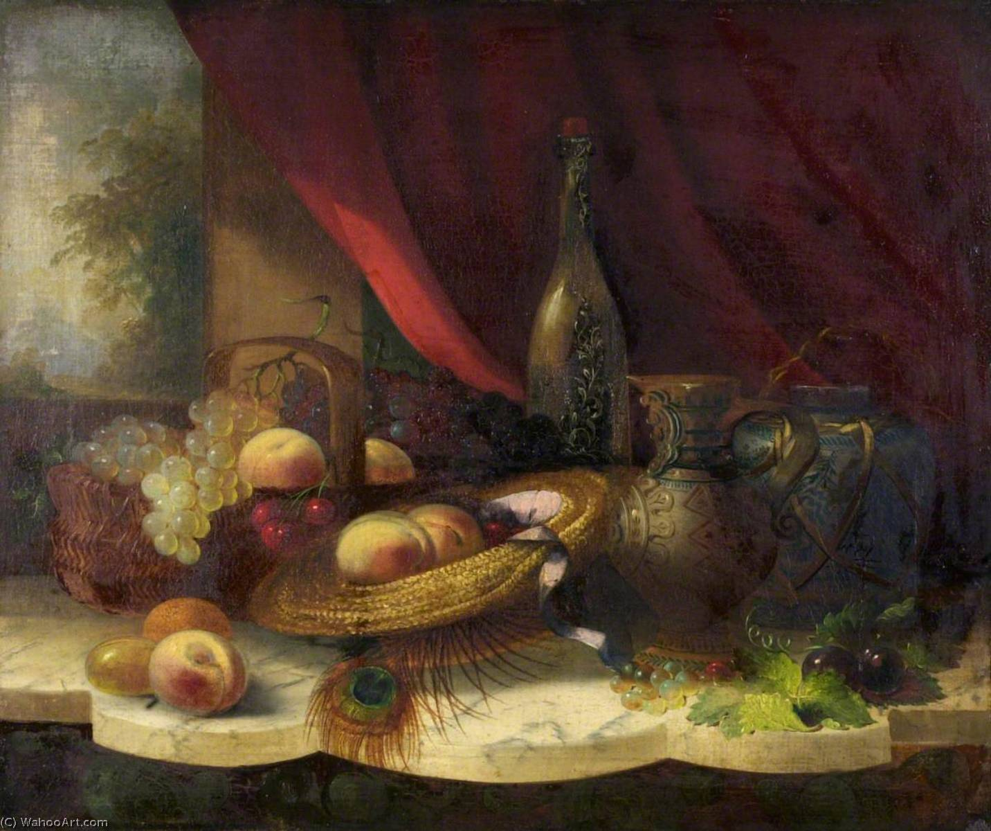 Still Life with Fruit, a Bottle and a Jug, 1850 by George Lance (1802-1864) | Reproductions George Lance | WahooArt.com