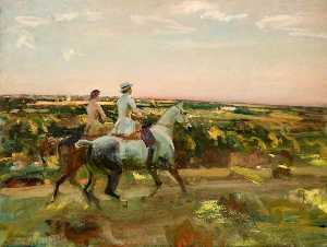 Alfred James Munnings - Two Lady Riders under an Evening Sky