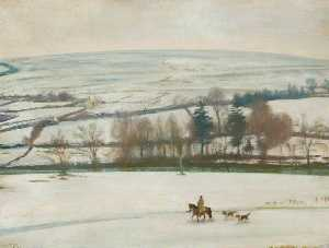 Alfred James Munnings - Winter at Withypool, Exmoor A Winter Landscape, a Rider and Two Hounds in the Foreground