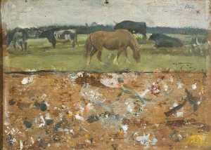 Alfred James Munnings - Study of a Horse and Bullocks Grazing (verso)