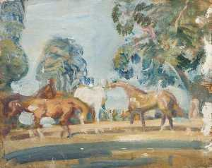 Alfred James Munnings - Study of 'Rose', 'Wild Bird', 'Peggy' and 'Stockings'