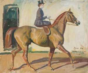 Alfred James Munnings - Study for 'Our Mutual Friend the Horse', Lady Munnings on 'Rufus'