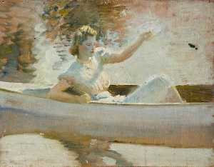 Alfred James Munnings - Study for 'The White Canoe'