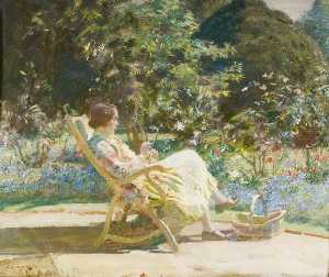 Alfred James Munnings - Violet, My Wife, in the Garden