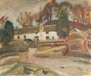 Alfred James Munnings - Cottages by a River