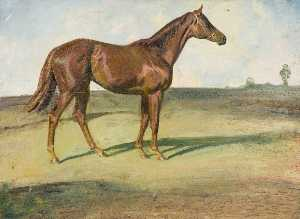 Alfred James Munnings - A Chestnut Horse in a Landscape ('Happy Laughter')