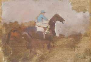 Alfred James Munnings - Study of a Horse and Jockey (recto)