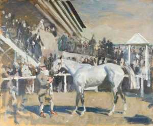 Alfred James Munnings - A Grey Horse in the Unsaddling Paddock, Epsom