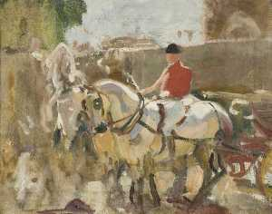Alfred James Munnings - A Study of the Windsor Greys