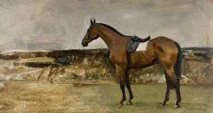 Alfred James Munnings - A Bay Horse in a Landscape