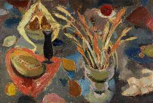 William George Gillies - Still Life with Scattered Fruit and Grasses
