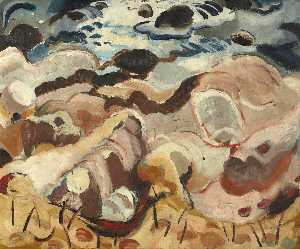 William George Gillies - Rocks and Sea