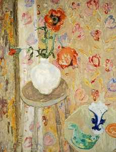 William George Gillies - Poppies and Cretonne Cloth