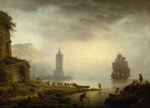 Claude Joseph Vernet - Morning A Port in the Mist – Fishermen Hauling in Their Boat