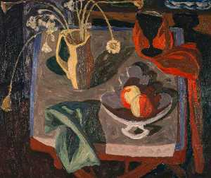 William George Gillies - Still Life. Lamplight
