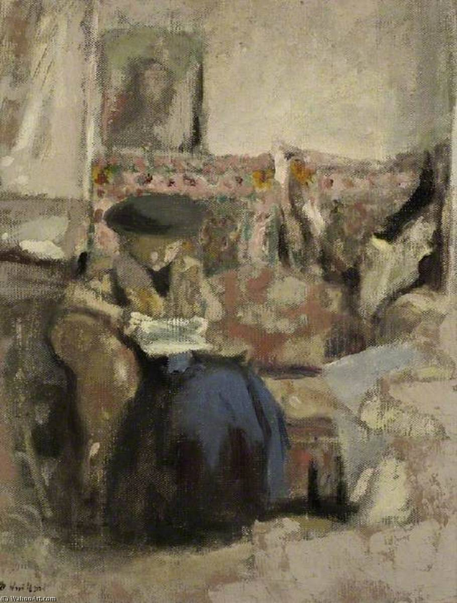 Seated Woman, Reading, Oil On Canvas by Jean Edouard Vuillard (1868-1940, France)
