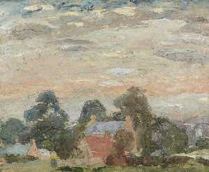 William George Gillies - Landscape with Cottages among Trees, Pink Sky
