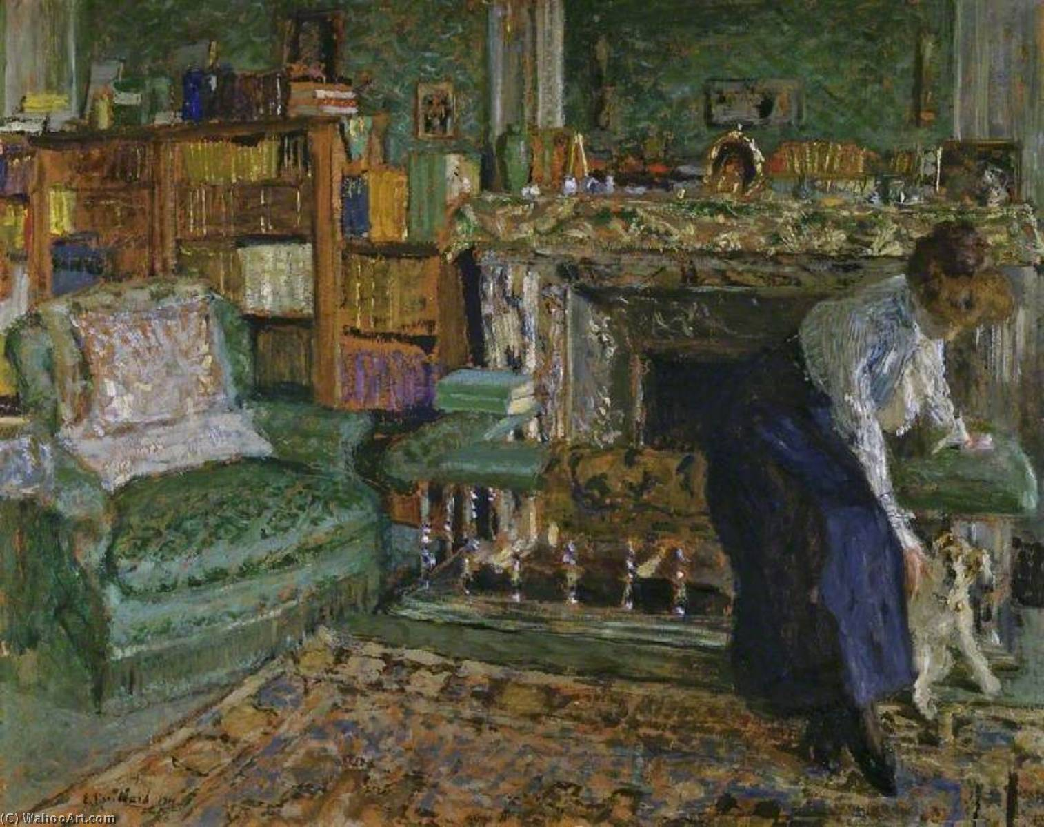 Marguerite Chapin in Her Apartment with Her Dog, Oil by Jean Edouard Vuillard (1868-1940, France)