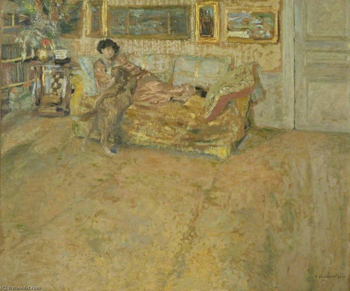 Interior with Madame Hessel and Her Dog, 1910 by Jean Edouard Vuillard (1868-1940, France) | Famous Paintings Reproductions | WahooArt.com