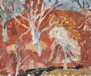 William George Gillies - Autumn Landscape with Trees