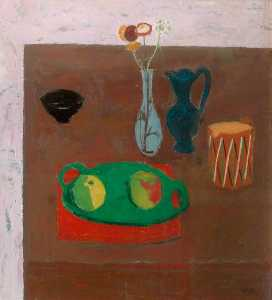 William George Gillies - The Green Platter (Still Life)