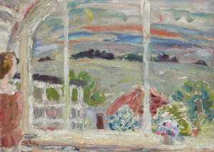 William George Gillies - Temple from the Cottage at Dusk (with Janet)