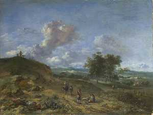 Jan Jansz Wijnants - A Landscape with a High Dune and Peasants on a Road