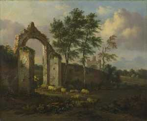 Jan Jansz Wijnants - A Landscape with a Woman driving Sheep through a Ruined Archway