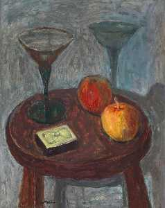 William George Gillies - Still Life with Wine Glasses and Apples