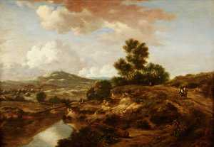 Jan Jansz Wijnants - Landscape with a River and a Bridge