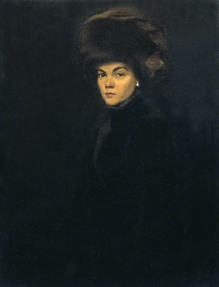 Lady in Furs, Mme. P, Oil On Canvas by William Newzam Prior Nicholson (1872-1949, United Kingdom)