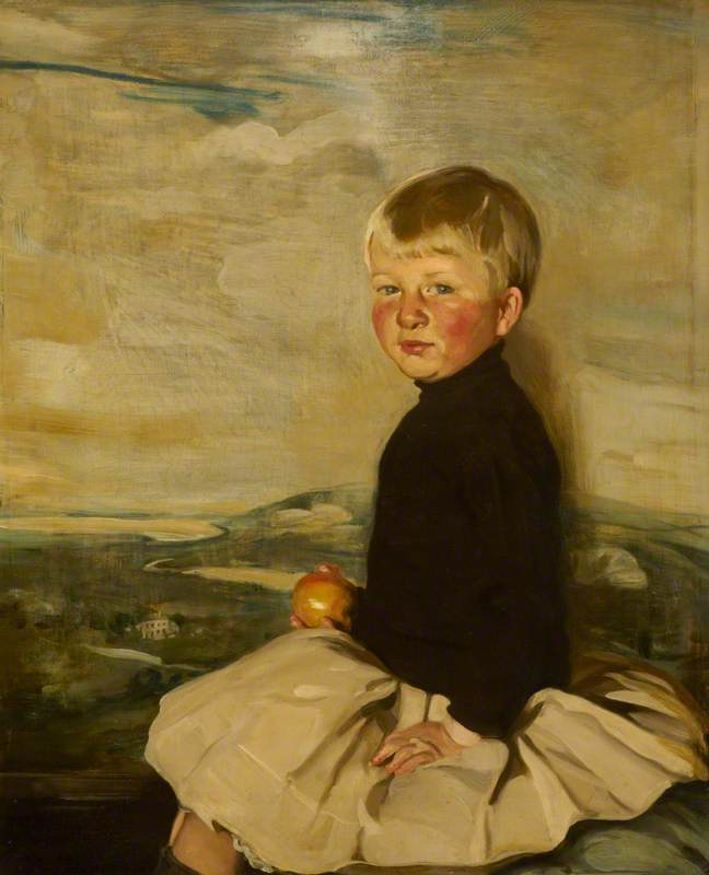 Master Anthony Bacon, Aged 3 (Anthony W. Bacon, Son of Thomas W. Bacon, 1873–1950, of Ramsden Hall, Essex), Oil On Panel by William Newzam Prior Nicholson (1872-1949, United Kingdom)