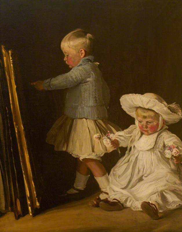 Francis and Christopher Bacon (Sons of Thomas W. Bacon, 1873–1950, of Ramsden Hall, Essex), 1907 by William Newzam Prior Nicholson (1872-1949, United Kingdom) | Art Reproduction | WahooArt.com