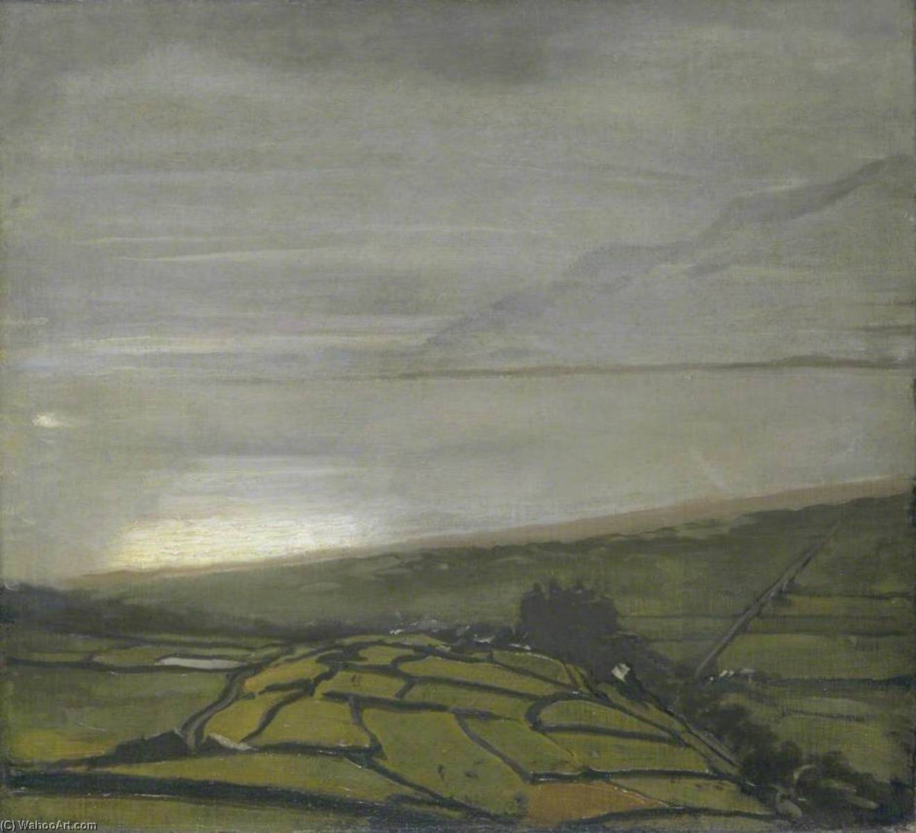 The Hill above Harlech, 1917 by William Newzam Prior Nicholson (1872-1949, United Kingdom) | Art Reproduction | WahooArt.com
