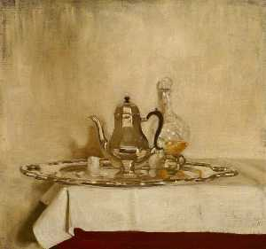 William Newzam Prior Nicholson - Silver Coffee Pot on a Silver Tray