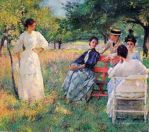 Edmund Charles Tarbell - In the Orchard, (painting)