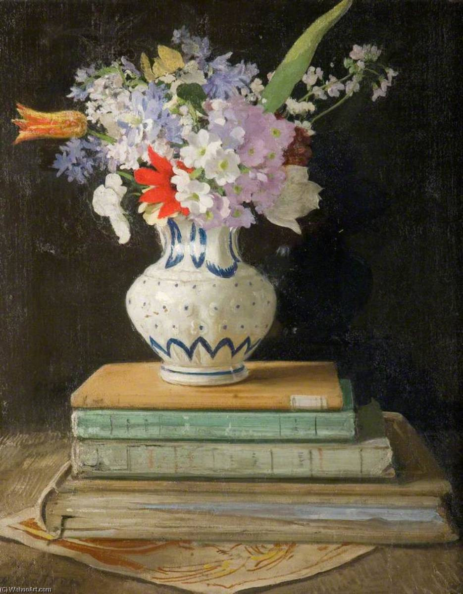 Flower Piece with Books, 1927 by William Newzam Prior Nicholson (1872-1949, United Kingdom) | Oil Painting | WahooArt.com
