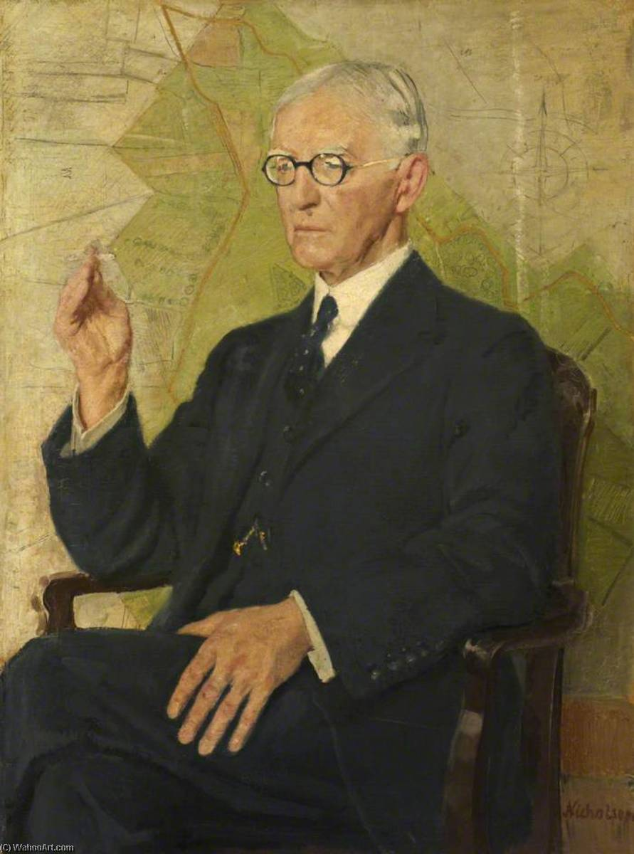 Sir Peter Chalmers Mitchell (1854–1945), 1935 by William Newzam Prior Nicholson (1872-1949, United Kingdom) | Museum Quality Reproductions | WahooArt.com