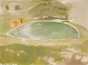 William Newzam Prior Nicholson - The Bathing Pool at Chartwell