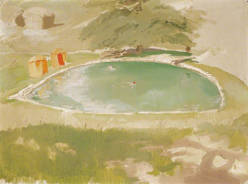 The Bathing Pool at Chartwell, 1935 by William Newzam Prior Nicholson (1872-1949, United Kingdom) | Museum Quality Reproductions | WahooArt.com