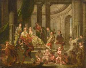 Francis Hayman - The Muses Paying Homage to Frederick, Prince of Wales and Princess Augusta (The Artists Presenting a Plan for an Academy to Frederick, Prince of Wales and Princess Augusta)