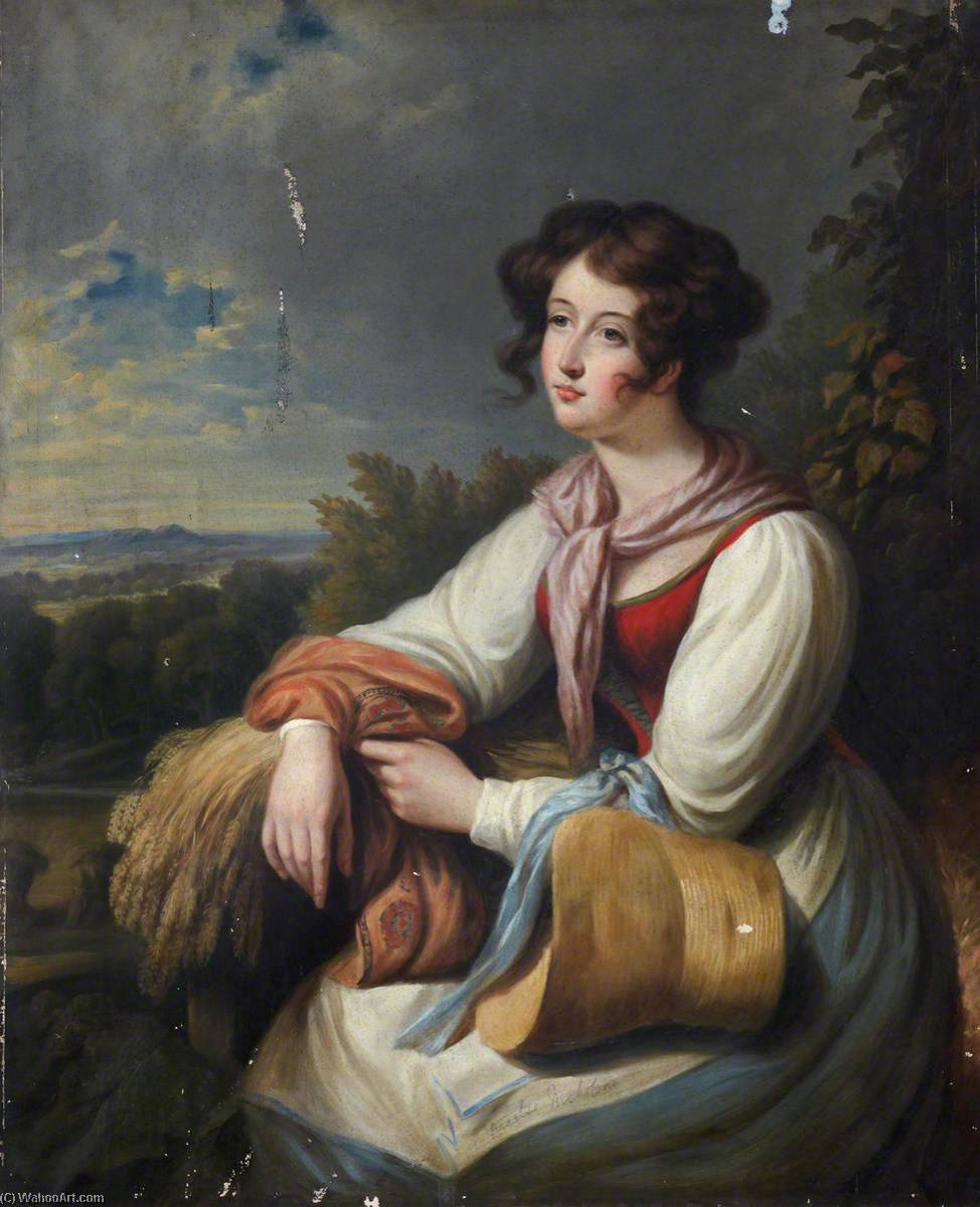 Portrait of a Lady in Rustic Costume with a Sheaf of Wheat by William Newzam Prior Nicholson (1872-1949, United Kingdom) | Museum Quality Reproductions | WahooArt.com